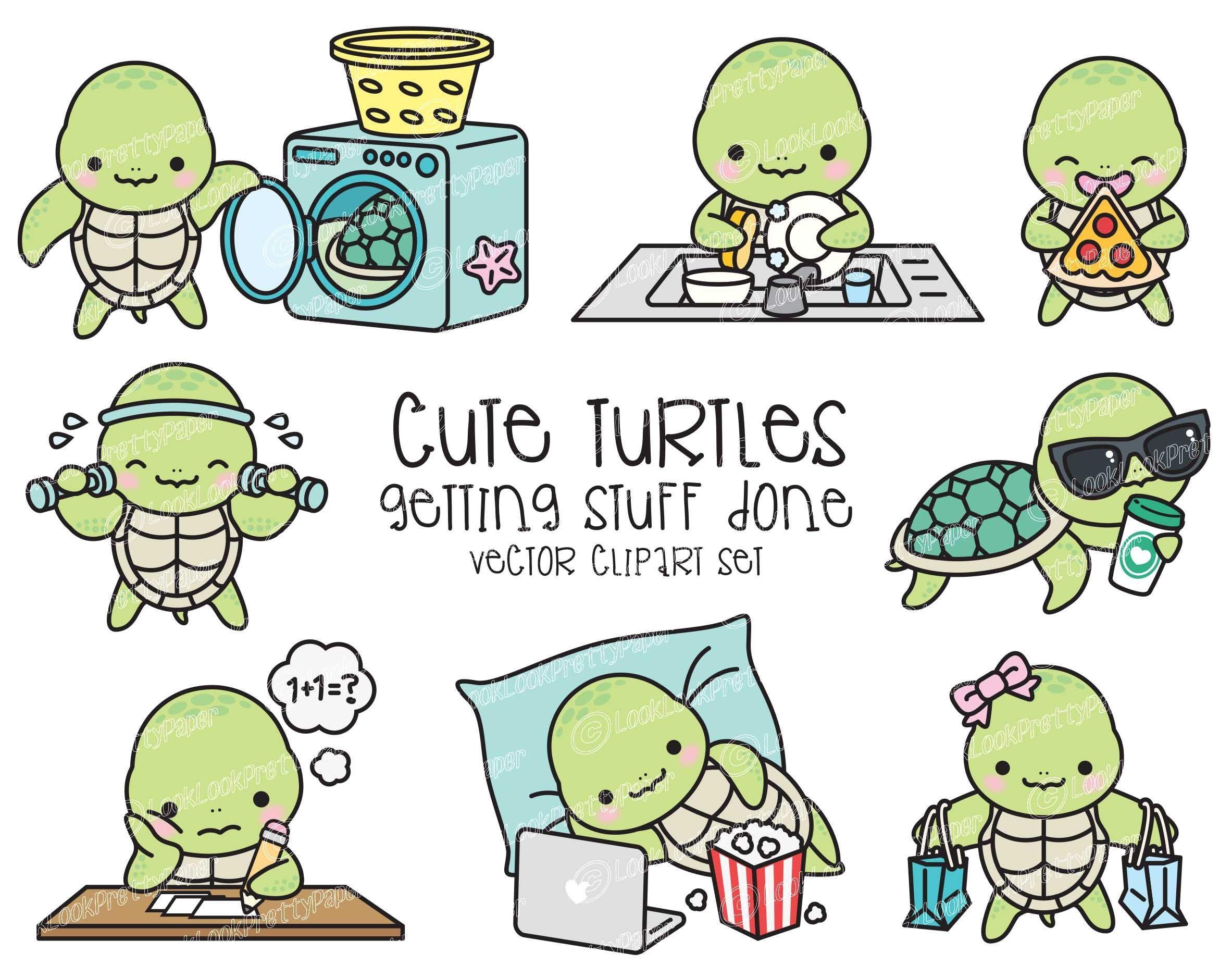 Premium Vector Clipart Kawaii Turtle Cute Sea Turtle Etsy In 2021 Cute Turtle Drawings Kawaii Turtle Cute Turtles
