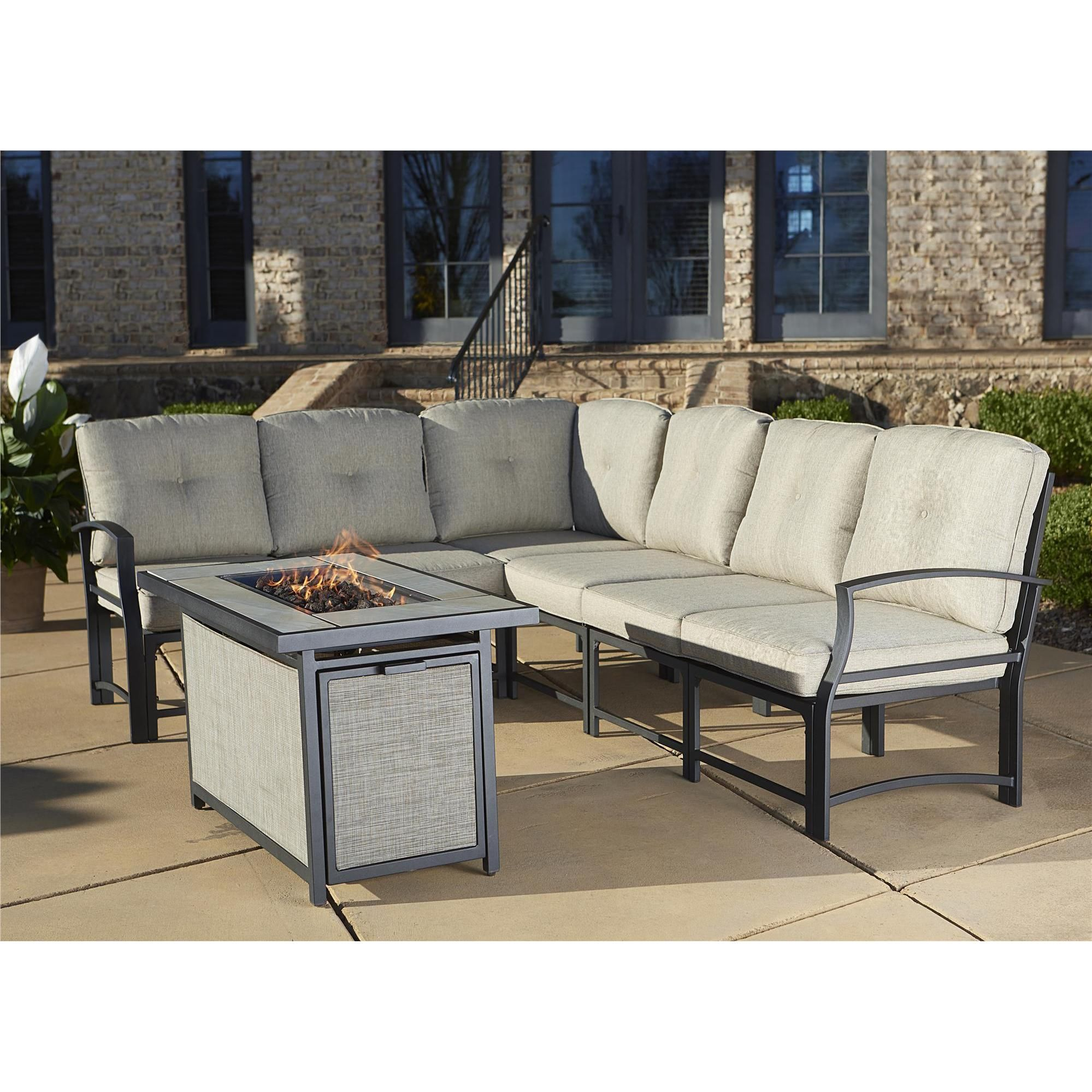 Cosco Outdoor Aluminum Sofa Sectional Patio Set With Gas Fire Pit Table (7  Pc Seating