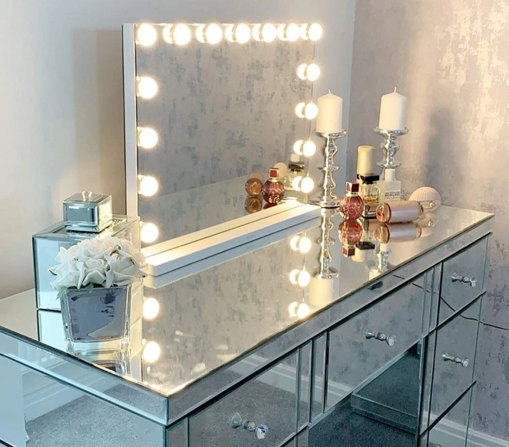 Hansong Large Vanity Makeup Mirror With Lights Hollywood Lighted Dressing Tabletop Mirror Or Wall Mounted Beauty Mirrors With 15 Pcs Led Bulbs Detachable 10x Ma In 2020 Makeup Mirror With Lights Mirror With