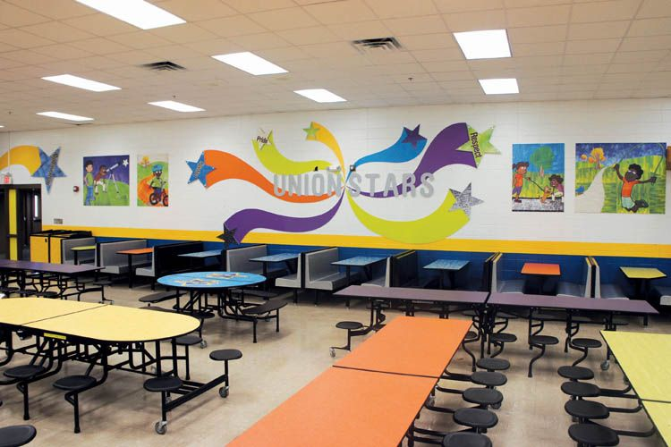 school cafeteria wall graphics | Cafeteria design, School ...