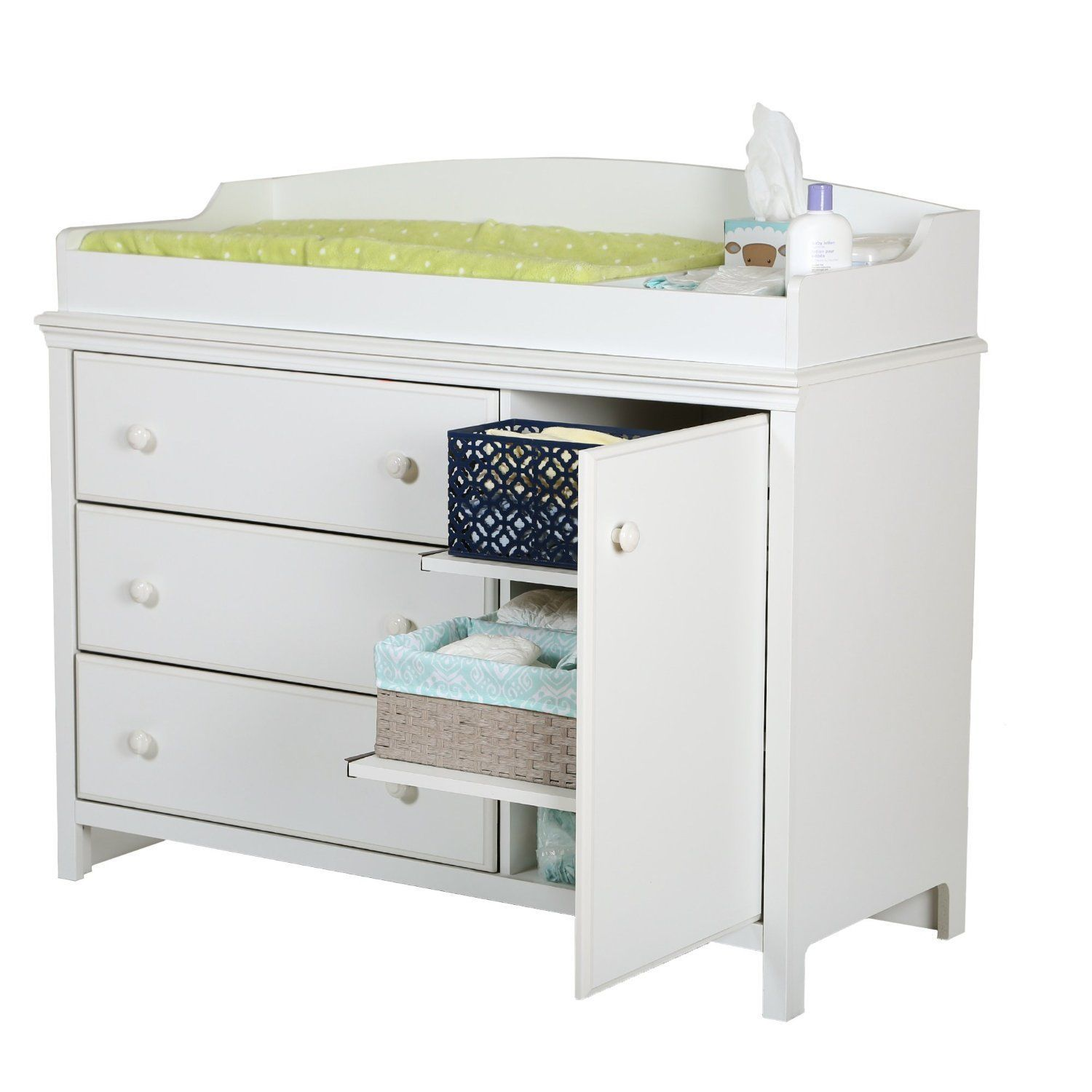 Baby Dresser With Changing Table White Drawers Shelves Nursery Station Storage Changing Table Dresser Changing Dresser Baby Changing Tables