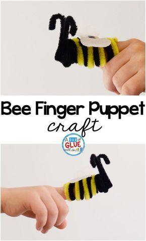 Bee Finger Puppet Craft - bugs Preschool, Puppet crafts, Crafts
