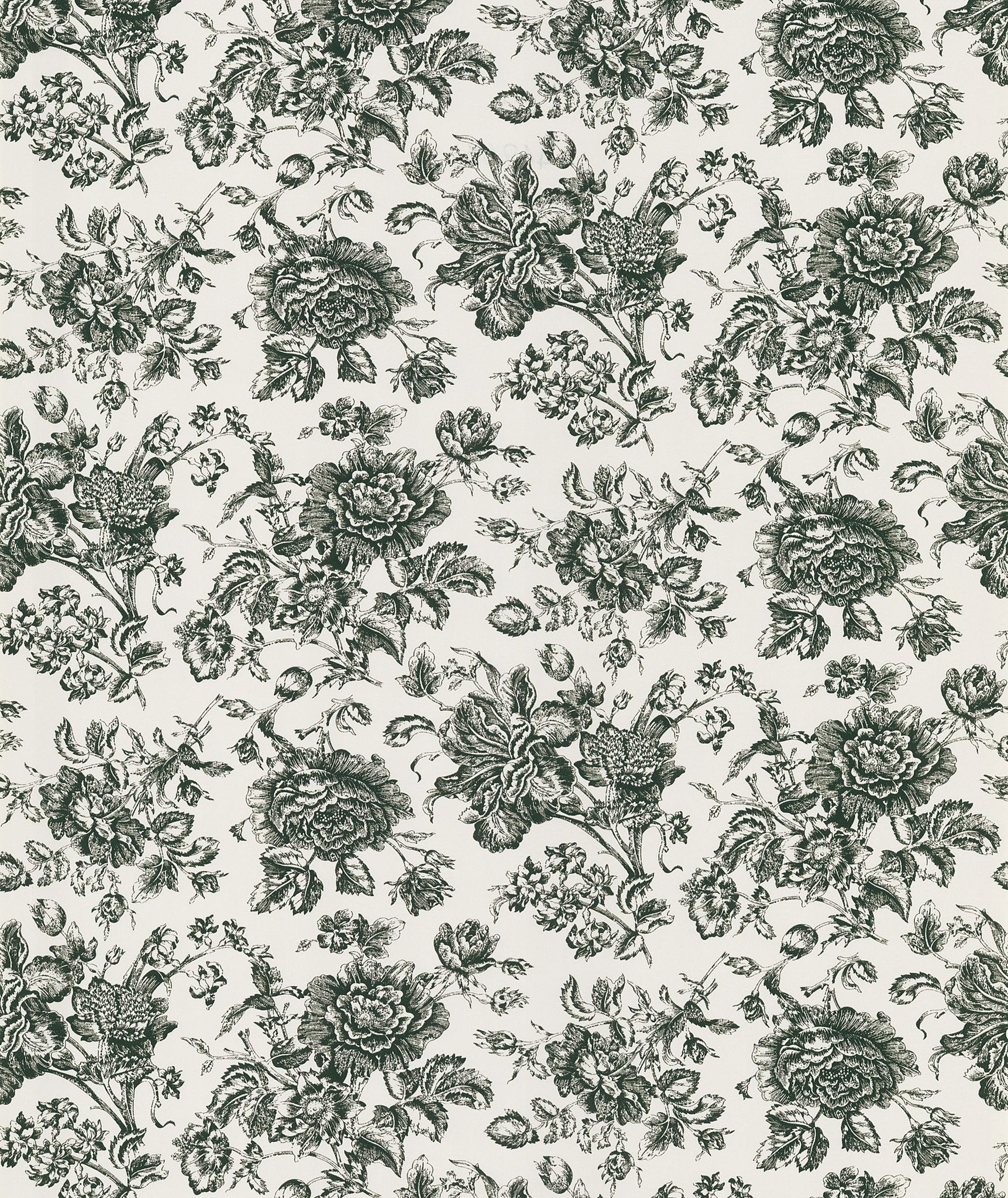 Poetic Black Flowers Grace Walls With The Elegant Charm Of A Toile Style  Wallpaper. This