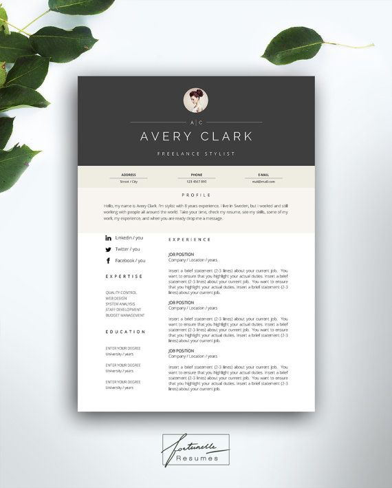 Resume Template 5 Page Cv Template Cover Letter Instant Etsy Cv Template Resume Template Resume