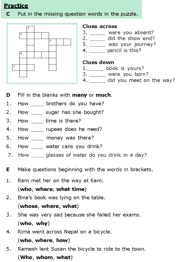 Grade 6 Grammar Lesson 8 Questions 3 English Worksheets