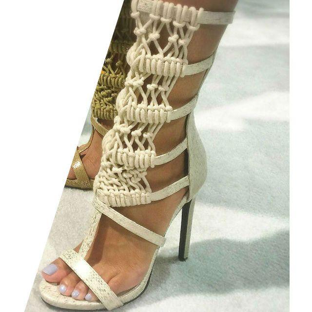 Ankle High Crotchet Sandal Heels