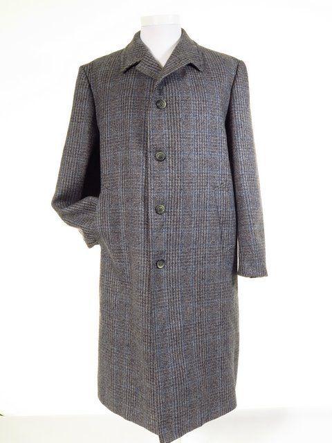 Mens long wool tweed coat overcoat XL / 46R - 48R | Coats, Wool ...