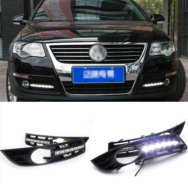 Brand New Updated Led Daytime Running Lights Drl With Black Foglight Cover For Vw Magotan With Images Running Lights Car Lights Light Covers