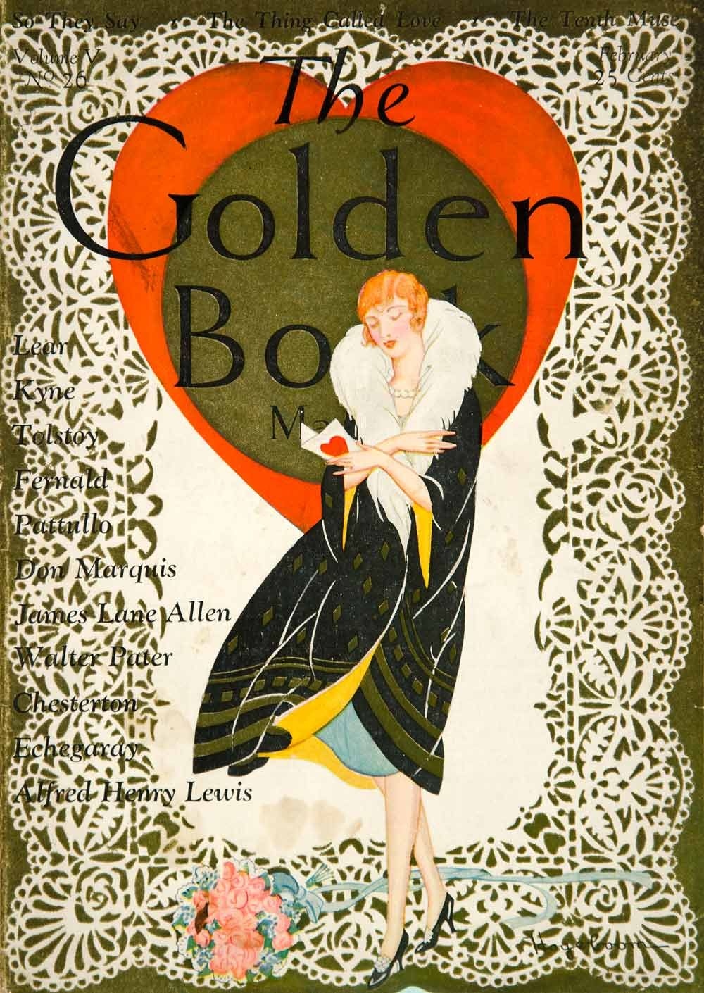 Color art magazine - 1927 Color With Gold Ink Cover For The February Issue Of The Golden Book Magazine Featuring