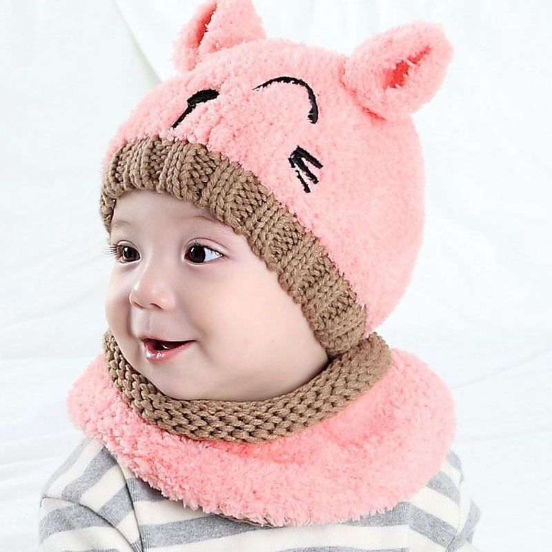 7407aa7eecf 2016 Korean Two ears little Bear kids boys Knitted hats winter 2 pcs fur baby  girl scarf hat set Age for 6 months-3 Years MZ4161