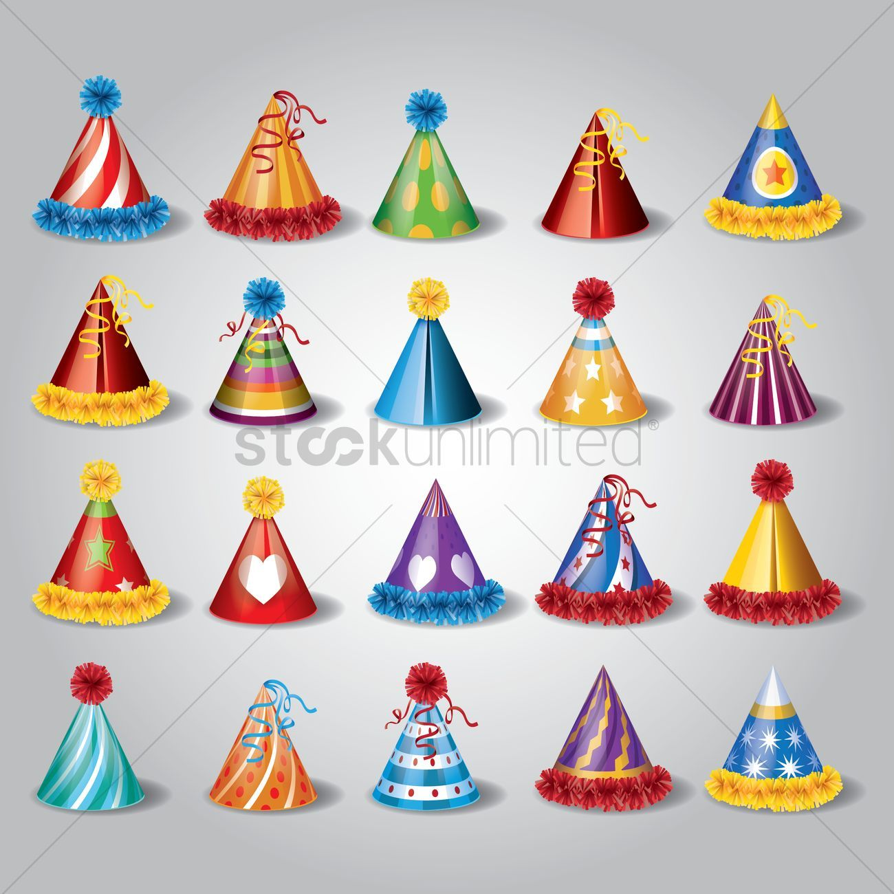Set of party hats vector illustration