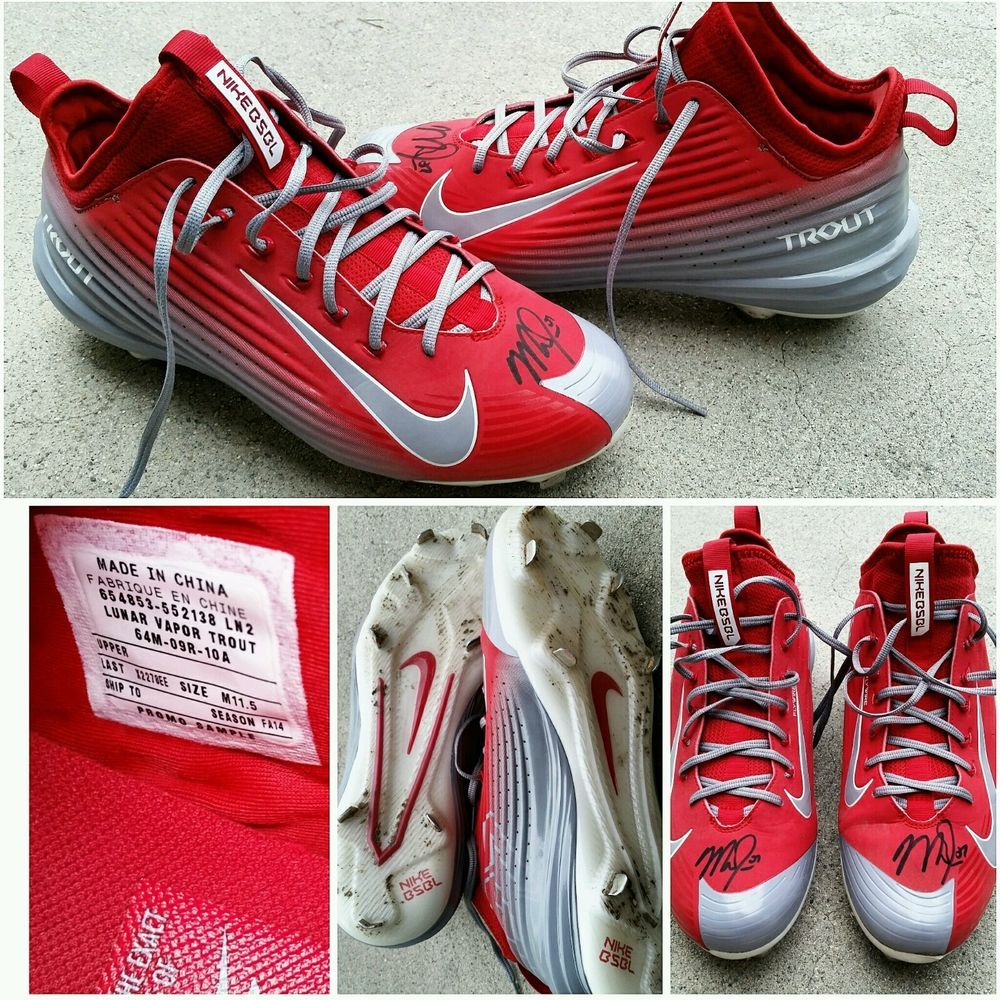 Mike Trout Angels Autographed Signed Game Worn Used Cleats
