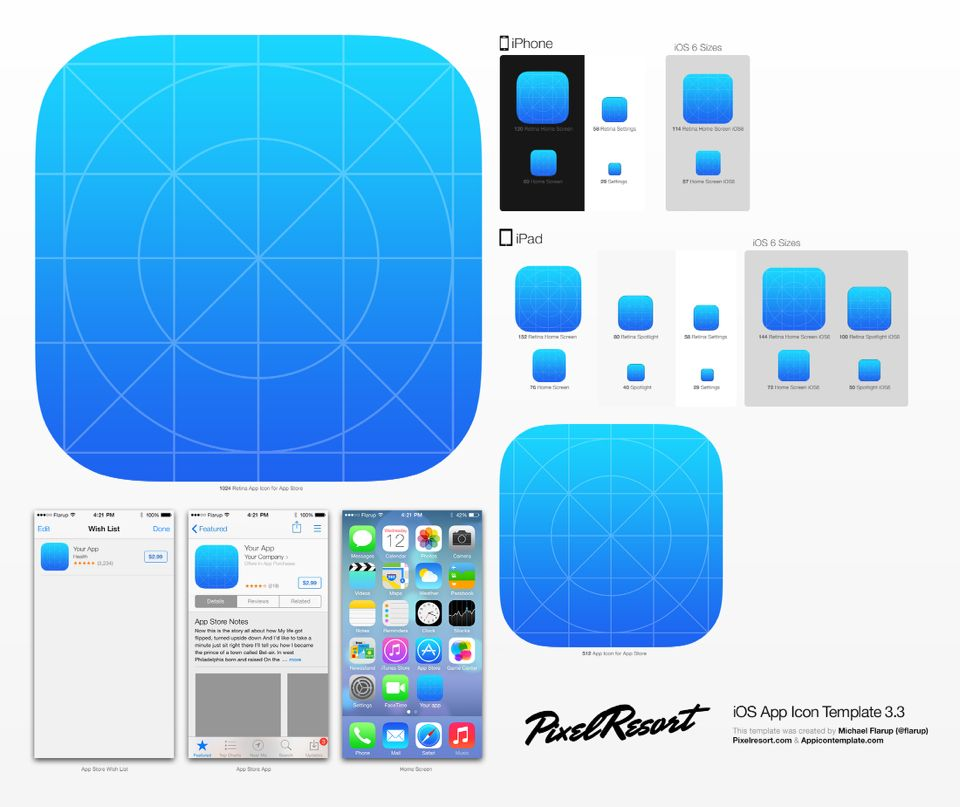 iOS7 App Icon Template (AI) - PSD Mockups