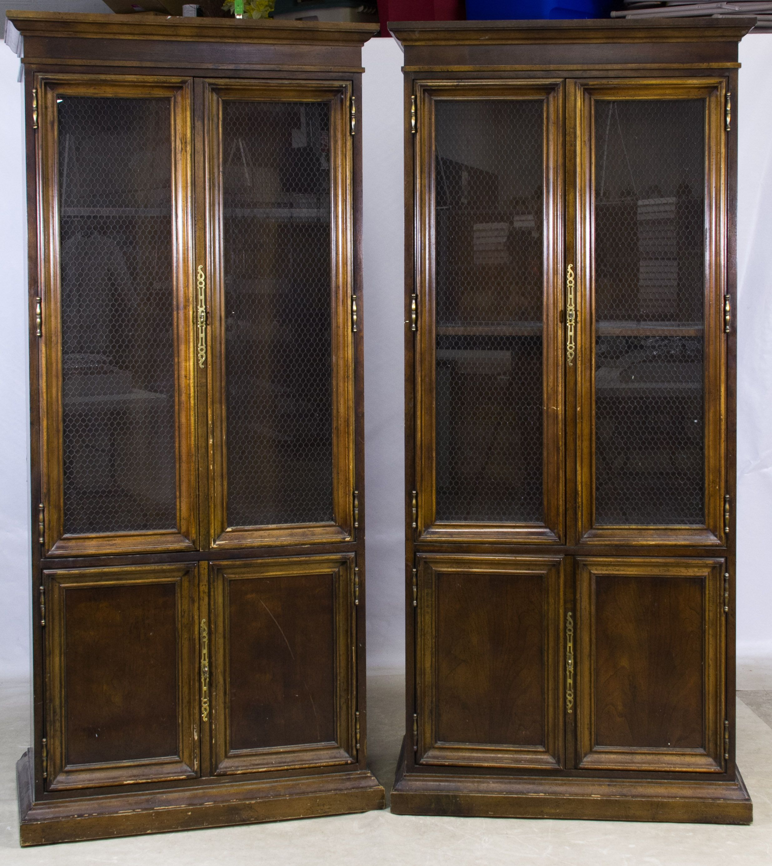 Lot 647 Walnut Display Cabinets Matching pair having double wood
