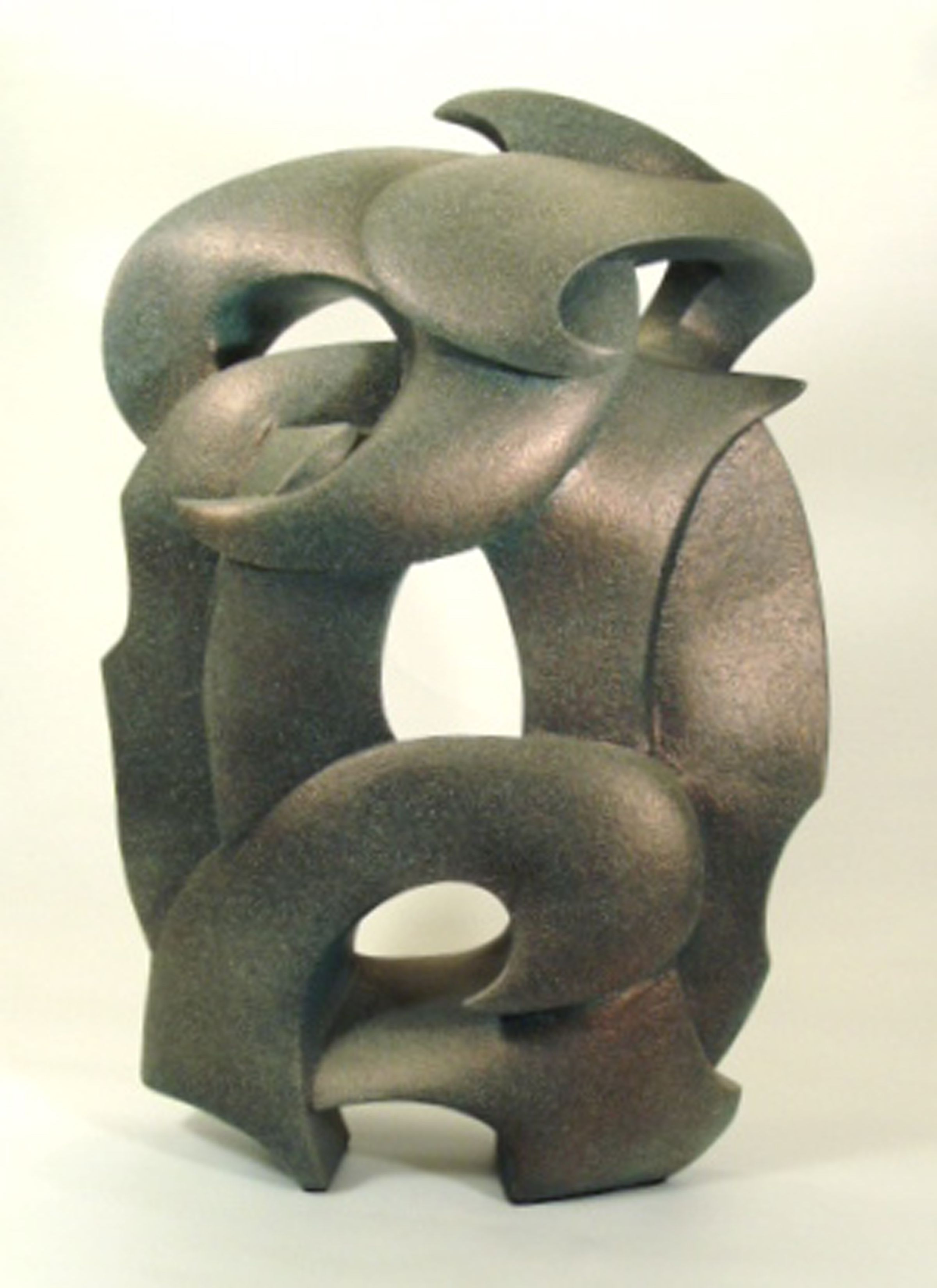 "Abstract Sculpture by Lena Arice Lucas GENERATIONS view 1 - coil built / constructed clay, acrylic, 26"" tall x 20"" wide (at widest)"