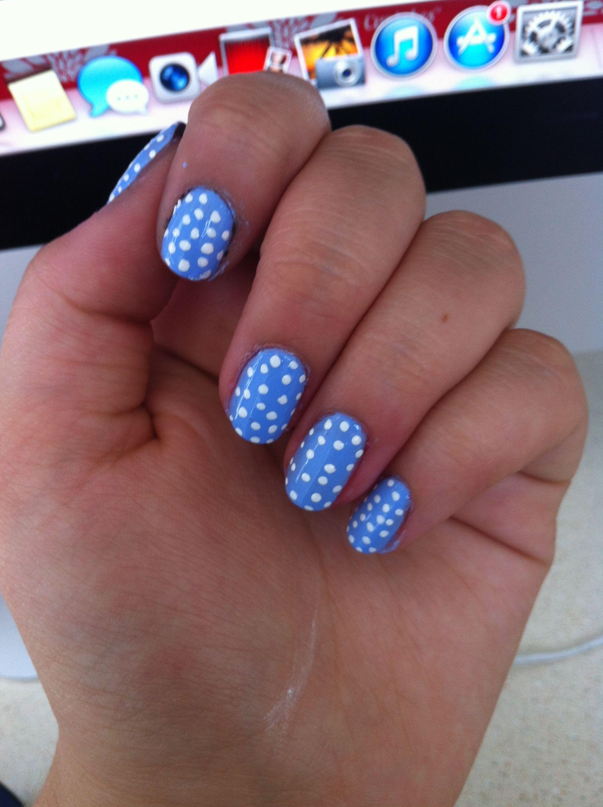 Baby Blue Nails With White Poka Dots Diy Nail Designs Baby Blue Nails Blue Nails