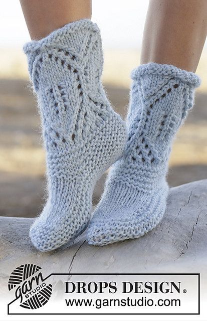 Hand Knitted slippers / socks in wool for women