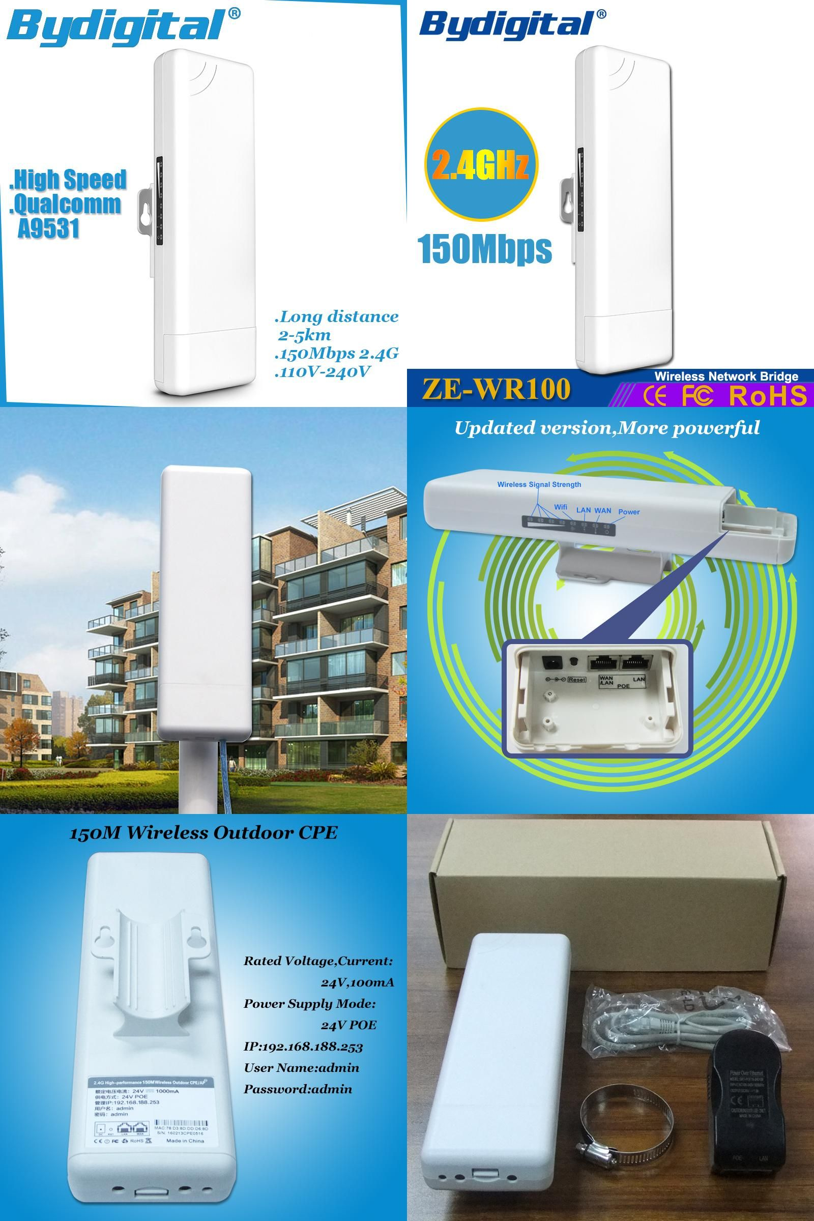 Visit to Buy] High speed wifi bridge CPE 150Mbps 2.4G wi-fi ethernet ...
