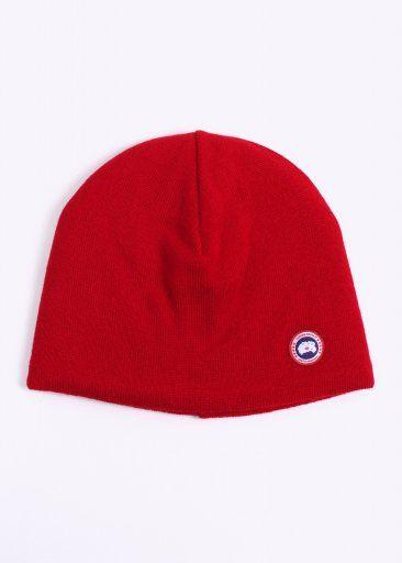 Canada Goose Merino Wool Fleece Lined Beanie - Red
