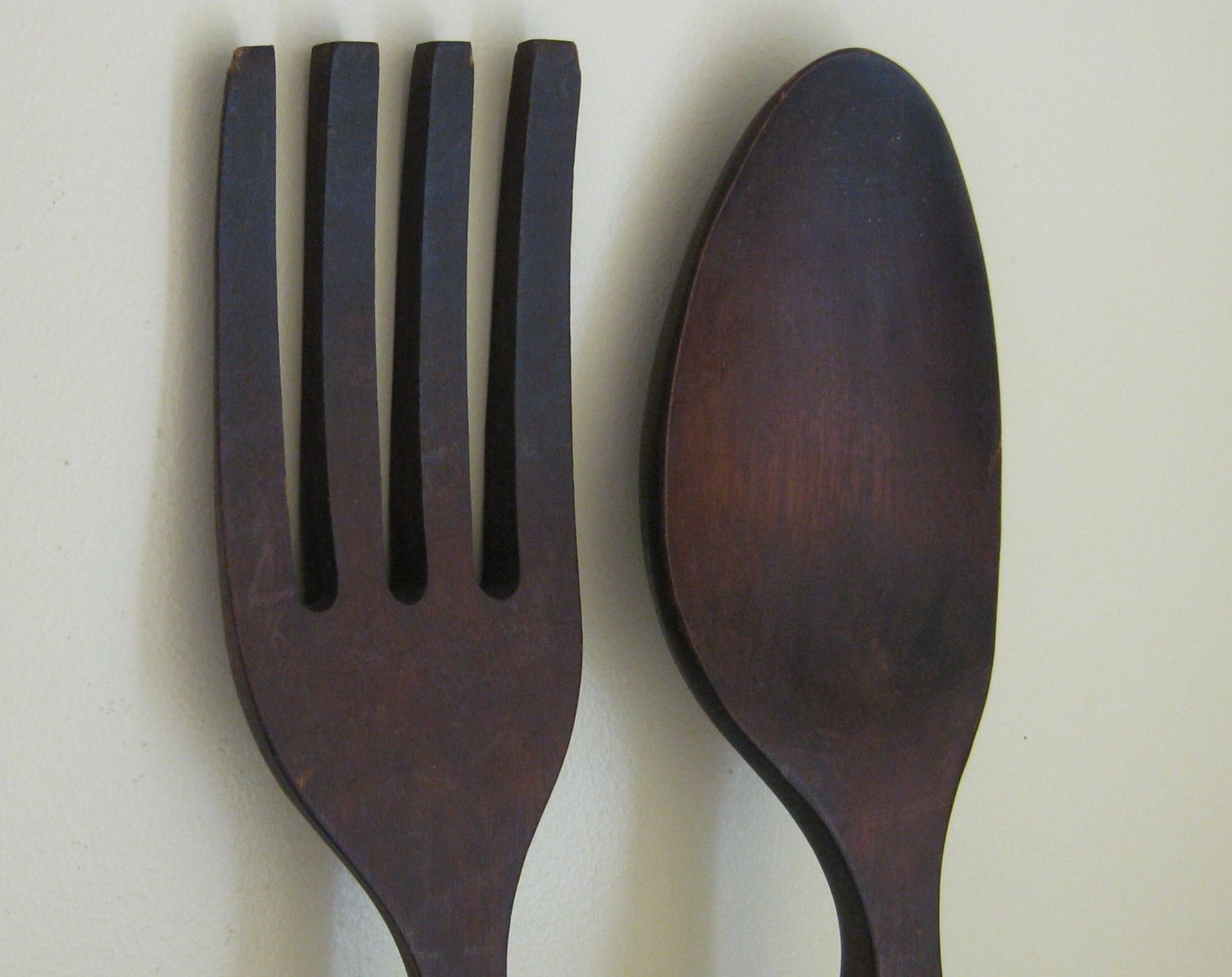 Large Wooden Fork And Spoon Wall Decor 28 Inches Long Wooden Fork Wooden Utensils Large Decor