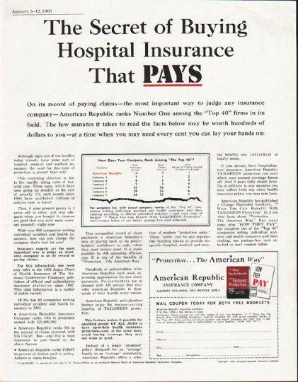 1963 American Republic Insurance Company Vintage Ad The Secret