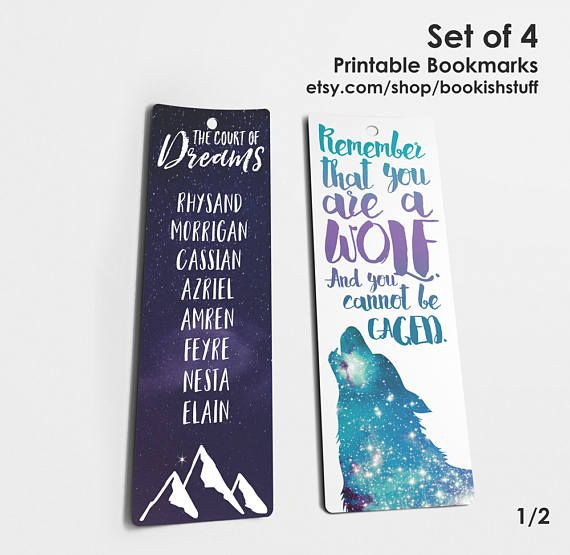 A Court Of Thorns And Roses Bookmarks Bookish Bookmarks