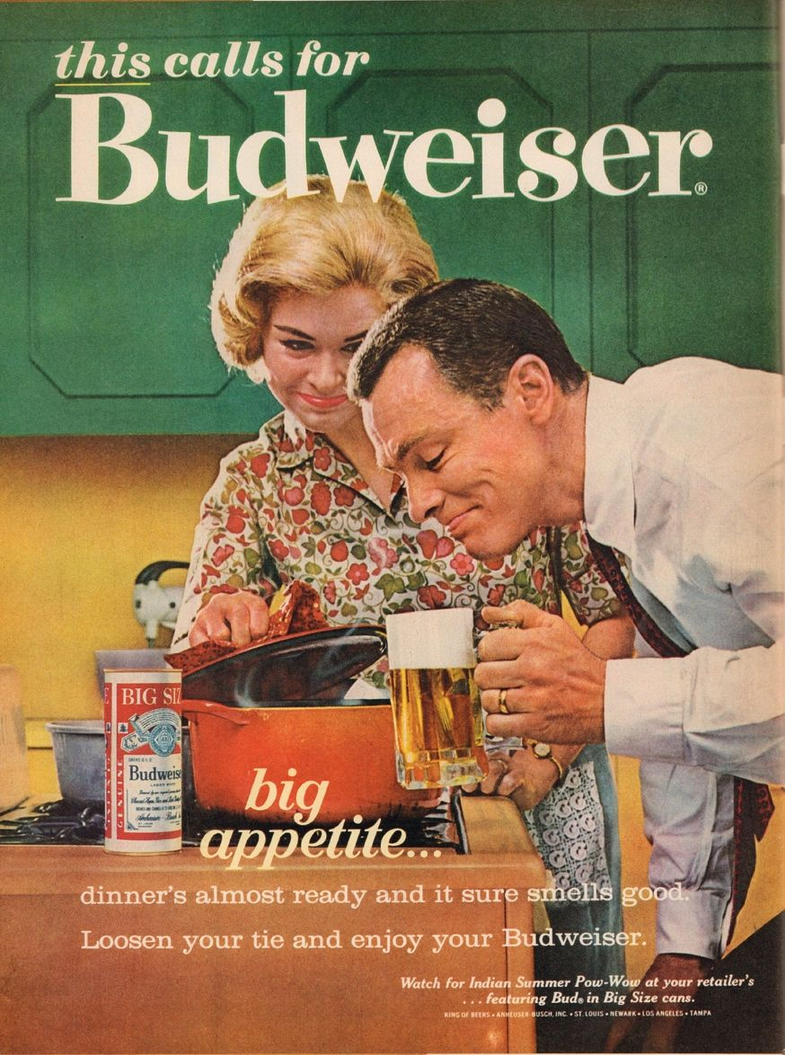 Font used in 1960s Budweiser ad logo, or similar 60s serif ...
