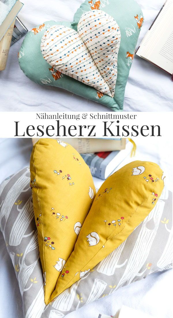 Oreiller coeur lecture bricolage | Instructions de couture et patron gratuit   – Deutsche Nähanleitungen & Ideen rund ums Nähen