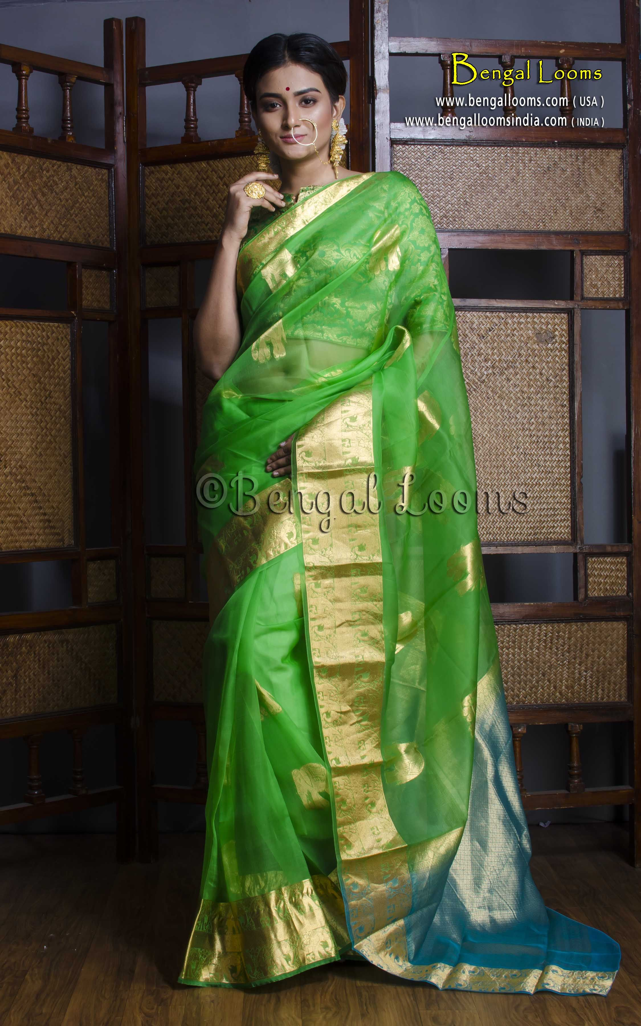 11dbc08d18d701 Pure Handloom Kora Silk Kanjivaram Saree in Parrot Green and Blue ...