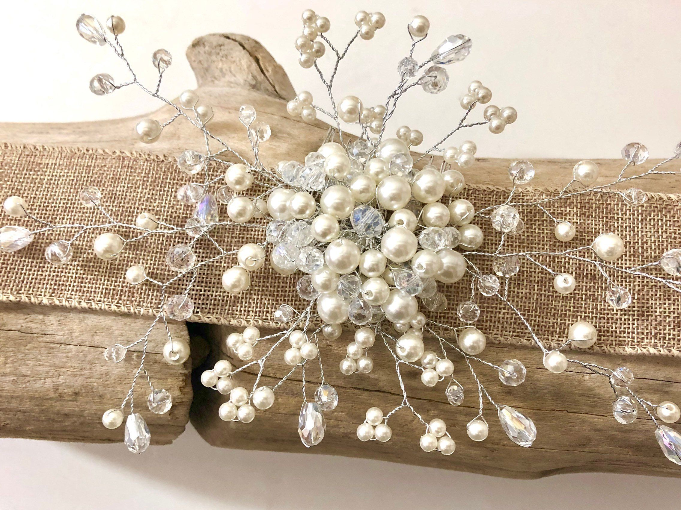 Bridal Hair comb Pearl Crystal Hair Comb Pearl Silver Hair Comb
