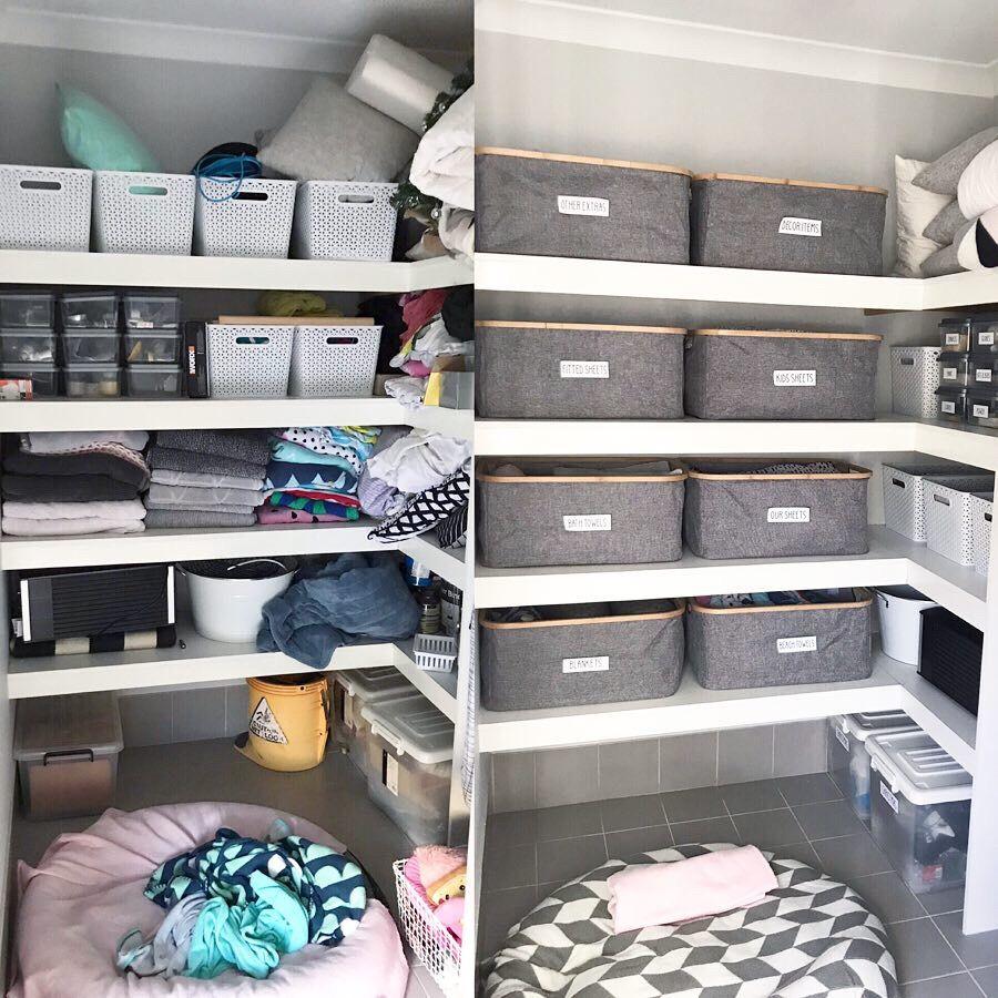 Before And After Linen Cupboards Organization Linen Cupboard Linen Closet