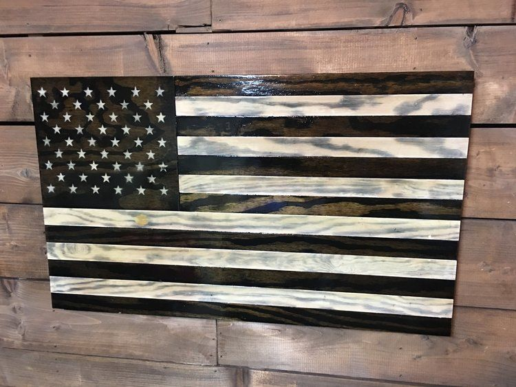 """36/"""" x 19/"""" Large Hand-Crafted Thin Blue Line Wood American Flag for our Police"""