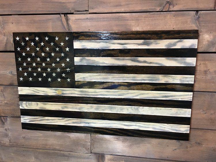 Handmade American Rustic Wooden Flags Veteran Made Woodworks