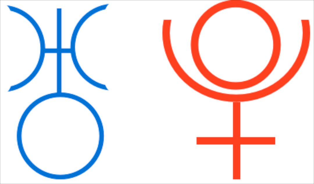 Astrological Symbols For Uranus Left In Blue And Pluto Right In