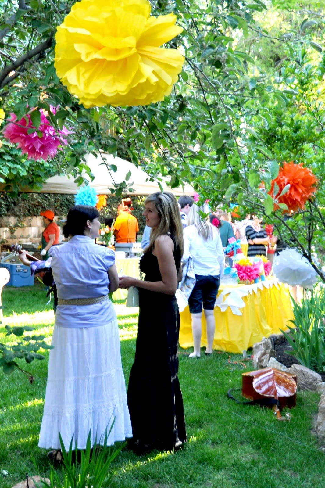 Love the paper flowers in the trees  th Bday Fiesta  Pinterest
