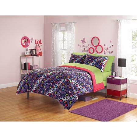 Your Zone Comforter Set, Purple Cheetah