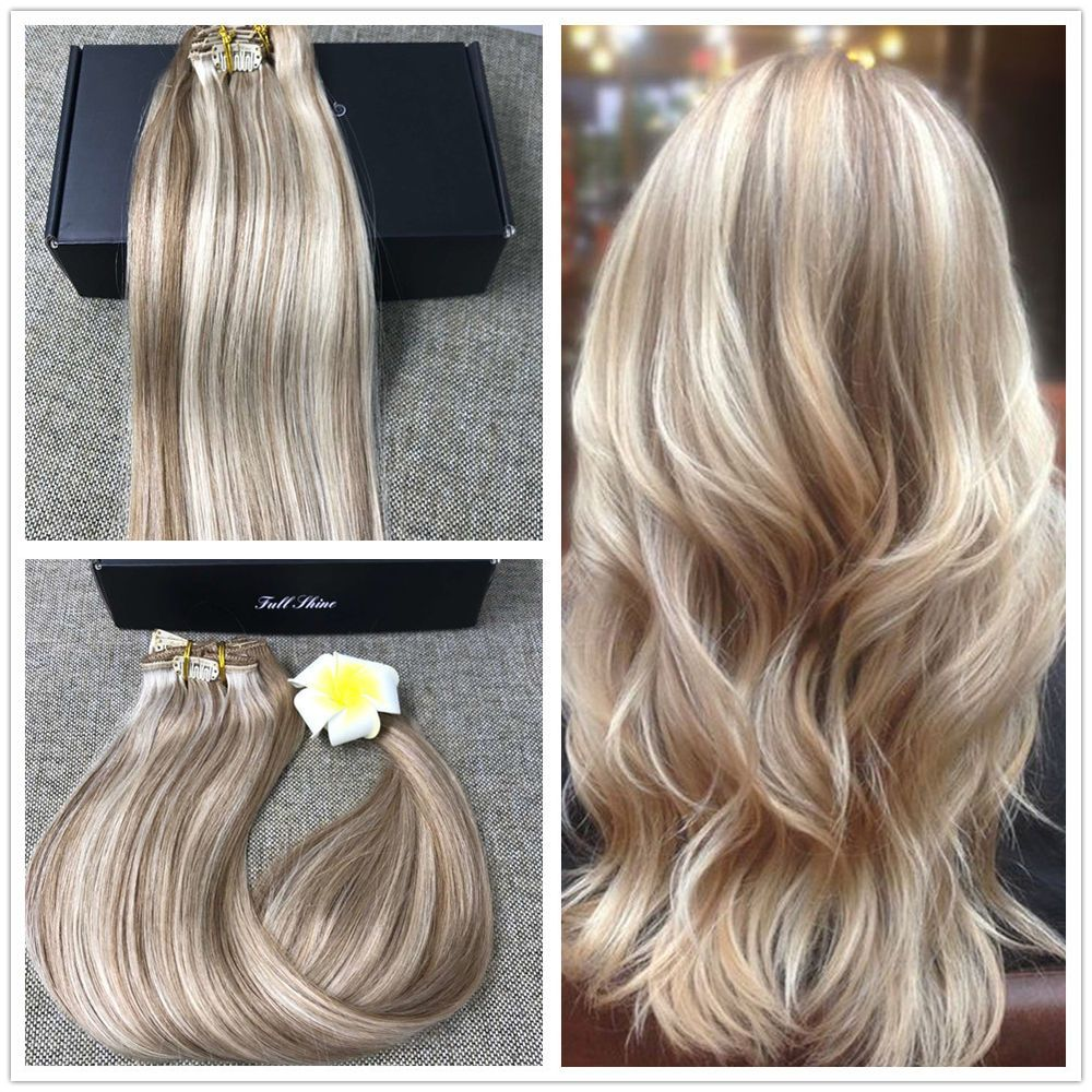 22 Balayage Ombre Clip In Remy Human Hair Extensions Golden Blonde