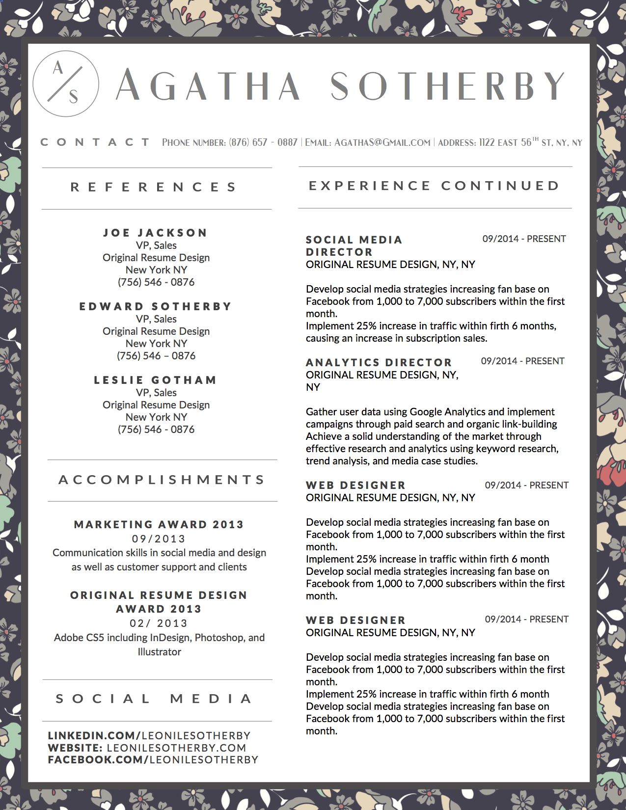 beautiful resume template with 2