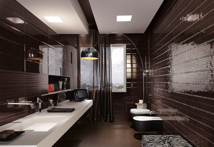 Black mosaic tiles masculine bathroom FAPCeramiche