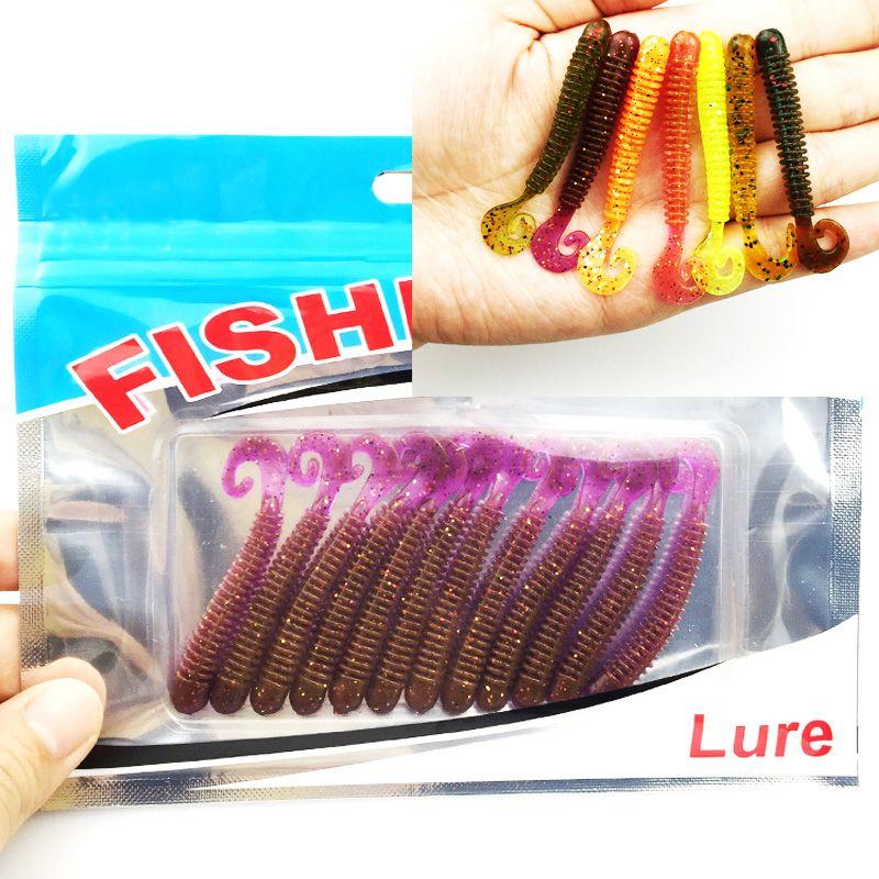 الصيد إغراء لينة مع رائحة الملح 12 قطع 1 3 جرام 6 سنتيمتر Swimbait الصيد دودة حية لينة إغراء الصيد الطعم الصيد إغراء ا Fishing Bait Fishing Worms Fishing Lures