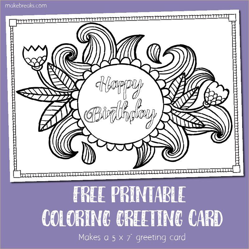 Free Printable Birthday Coloring Card Free printable