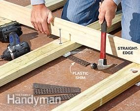 how to build a deck over a concrete patio video