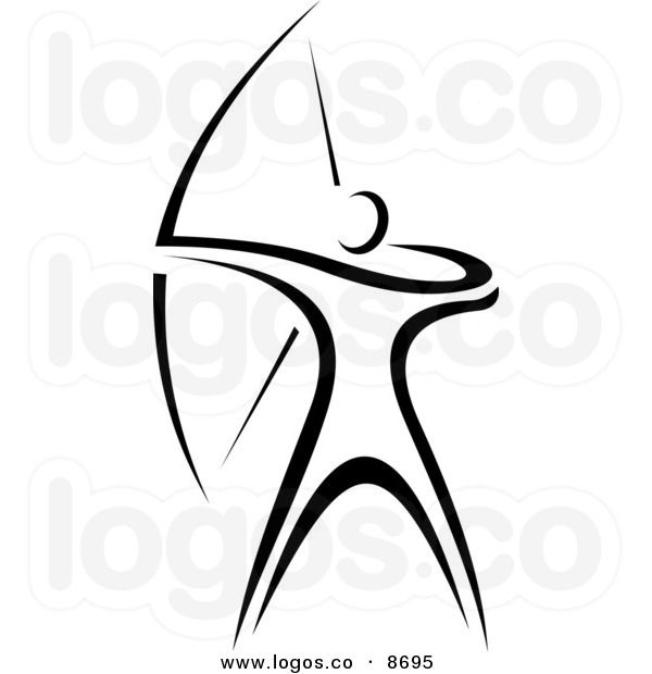 Royalty Free Vector of a Black and White Archer Logo