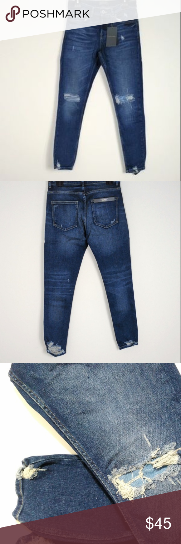 e50c6e4d8a9 NWT ZARA MAN Distressed Skinny Denim Jeans Sz34 Brand New ZARA Men's skinny  leg denim jeans with factory distress and destroyed style. Factory holes at  ...