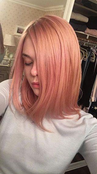 Image result for Elle Fanning rose gold hair