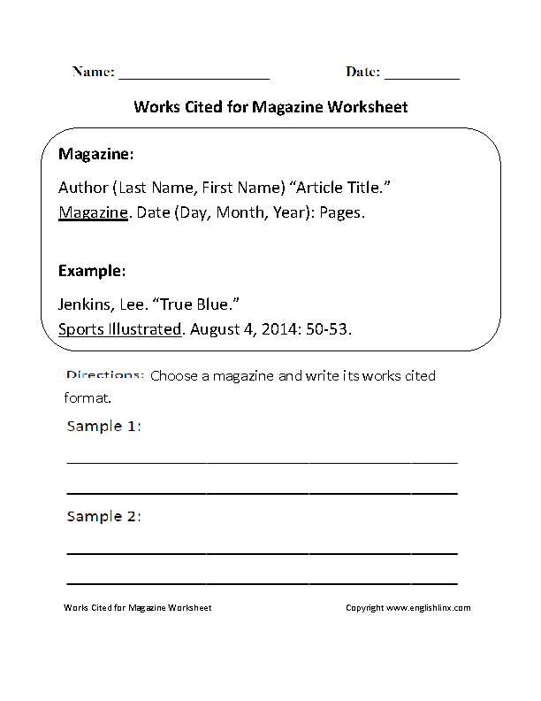 Works Cited for Magazine Worksheet | Englishlinx.com Board ...