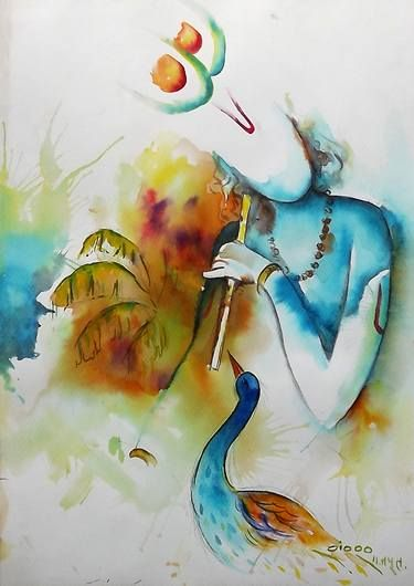 buy krishna a watercolor painting on canvas by shankar rajput from india for