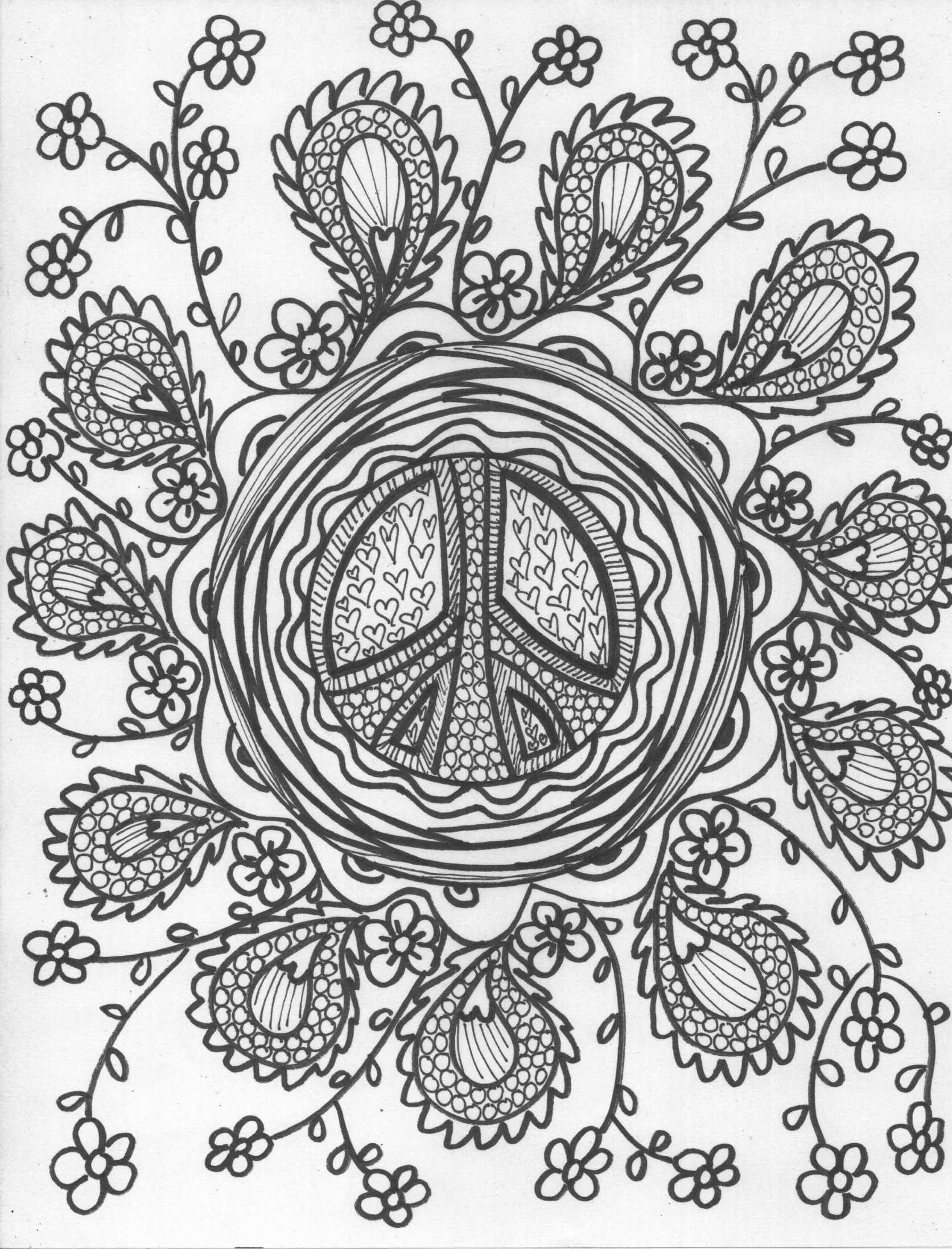 paisley Coloring Pages pg 5 paisley peace color me