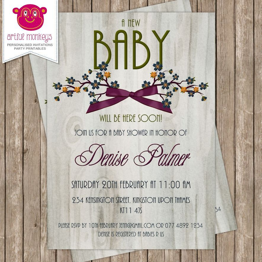 Personalised Gender Neutral Baby Shower Invitation DIY