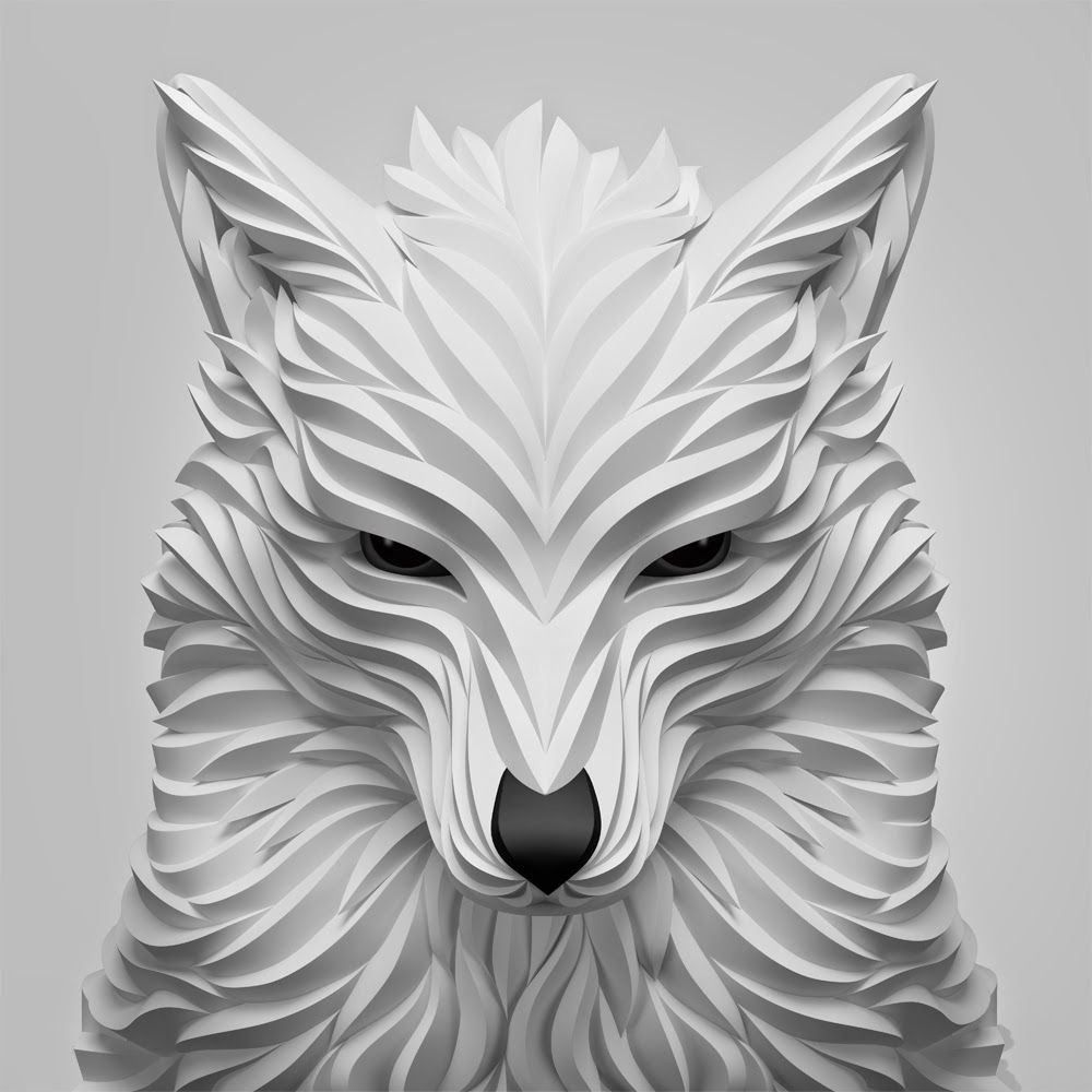 Digital origami animal art origami animals origami and digital 10 white wolf maxim shkret digital origami animal jeuxipadfo Images